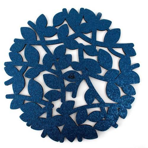 Individual para Mesa, Doble Faz Azul Mate Mod Flower 37cm