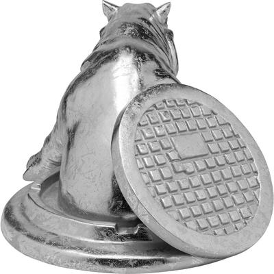 Objeto decorativo Struggling Rhino plata