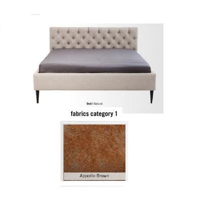 Cama Nova, tela 1 - Appollo Brown  (85x180x215cms), 160x200cm (no incluye colchón)