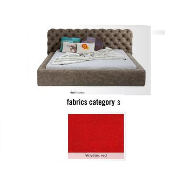 Cama Slumber,  tela 3 - Velvetex Red,  (82x228x239cms), 180x200cm (no incluye colchón)
