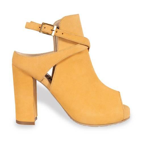 Zapato Peep Toe En Cuero Amarillo