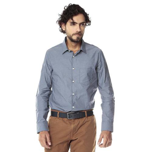Camisa Manga Larga Thompson Para Hombre Color Siete - Azul