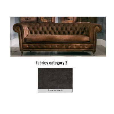 Sofá Cambridge, 3 puestos, tela 2 - Astoria Black (220x76x92cms)