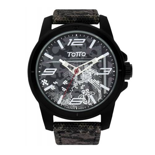 Reloj análogo estampado-negro 08-2