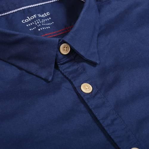 Camisa Manga Corta Leroy Color Siete Para Hombre - Azul