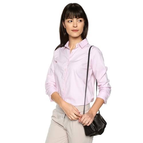 Camisa Basica Manga Larga Color Siete Para Mujer - Rosado