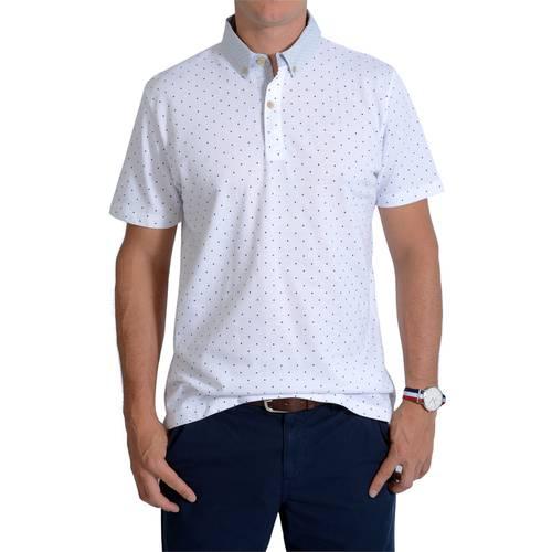 Camiseta Tipo Polo Color Siete para Hombre  - Blanco