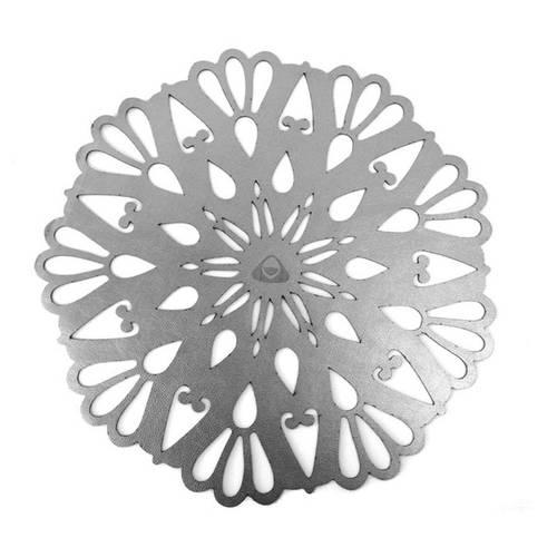 Portavaso para Mesa, Doble Faz Plateado Mod Flower 10cm