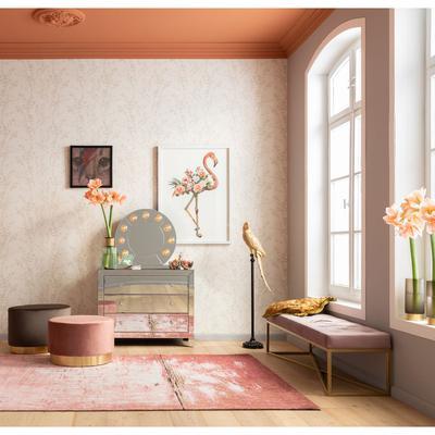 Banco Crossover rosa latón 150x40cm