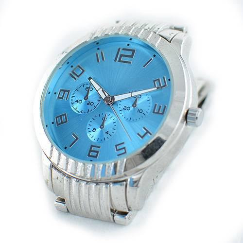 Reloj análogo azul-plateado U113