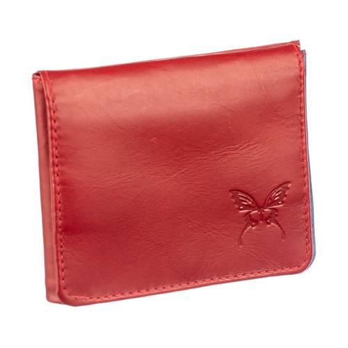 Mini billetera para mujer en cuero Calzado Guerreros JA-07 rojo x azul
