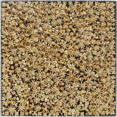 Cuadro Flower dorado 120x120cm