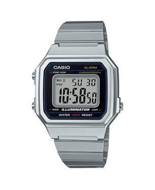Reloj retro digital gris-negro-plateado D-1A