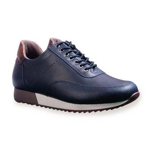 Zapato Casual Para Hombre En Cuero Azul