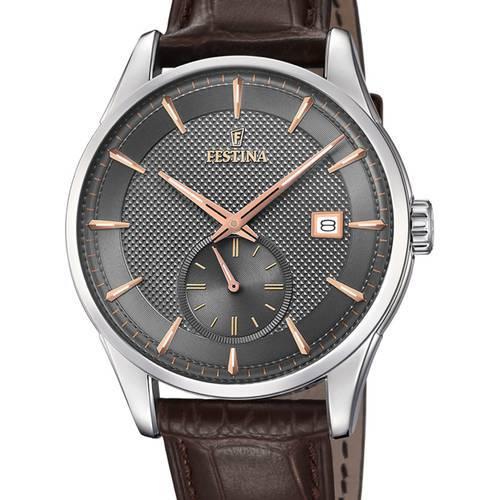 Reloj analógico gris-marrón 77-3