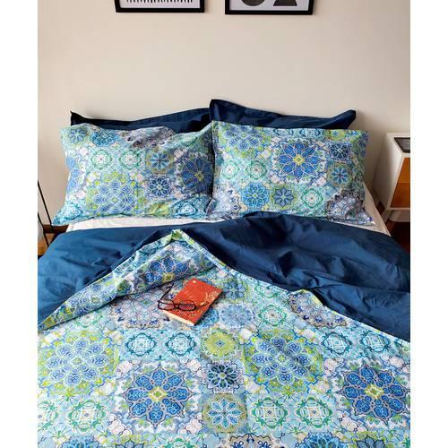 Duvet Doble Faz Mosaico Azul