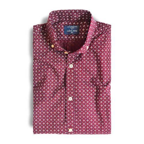 Camisa Manga Larga Murray Color Siete para Hombre - Rojo