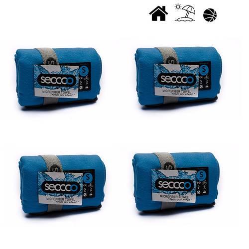 Set X 4 Toallas De Microfibra Marca Talla S Azul Claro 4Sac - SECCCO
