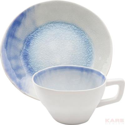 Taza de café Crackle blanco azul (2/set)