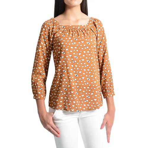 Blusa Cuello Bandeja Estampada Color Siete para Mujer - Cafe