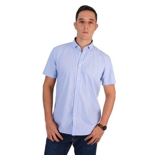 Camisa Murray Manga Corta Color Siete Para Hombre - Azul