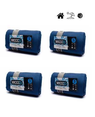 Set X 4 Toallas De Microfibra Marca Talla S Azul Oscura Saom - SECCCO