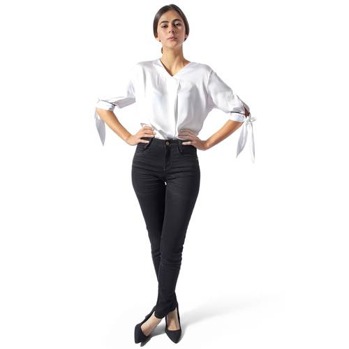 Jean Super Skinny Color Siete para Mujer - Negro