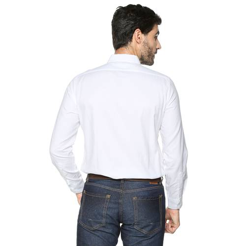 Camisa Oxford Manga Larga - Blanco