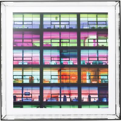 Cuadro espejo Frame Office rosa 80x80cm