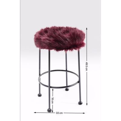 Taburete Ontario Fur rojo oscuro Ø30cm