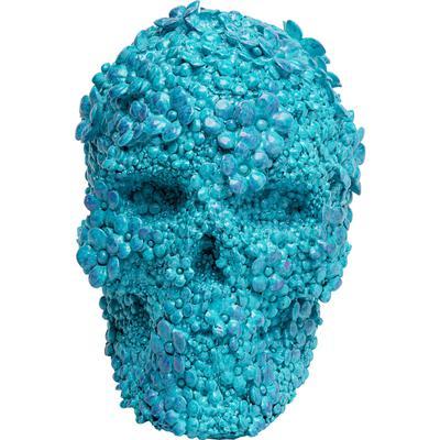 Alcancía Skull Flowers azul claro