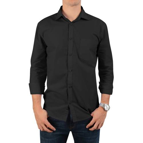 Camisa Manga Larga Jones Oxford Color Siete para Hombre - Negro
