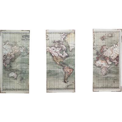 Cuadro Triptychon Map 120x118cm