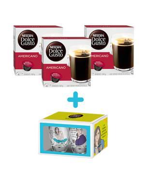 48 capsulas de Café Americano + Set 2 vasos Aleida