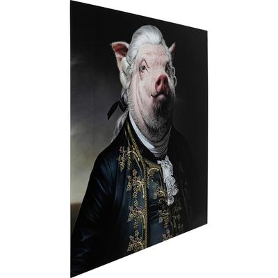 Cuadro cristal Gentleman Pig 120x120cm