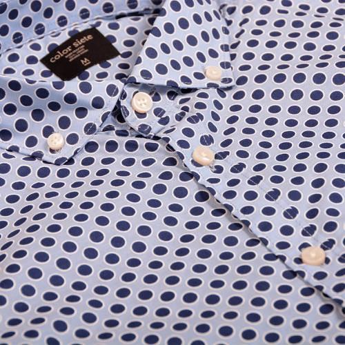 Camisa Manga Corta Color Siete Para Hombre  - Azul
