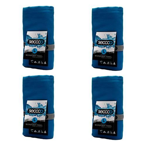 SetX 4 Toallas de Microfibra Azul Claro L