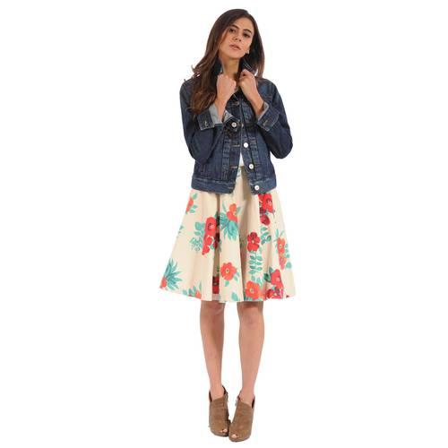 Falda Rosella Color Siete Para Mujer  - Beige