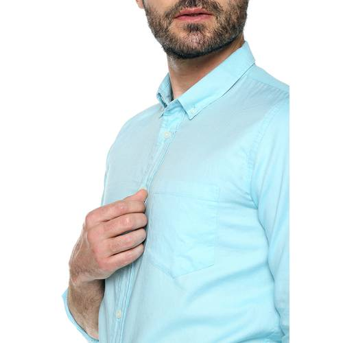 Camisa Oxford Manga Larga - Azul