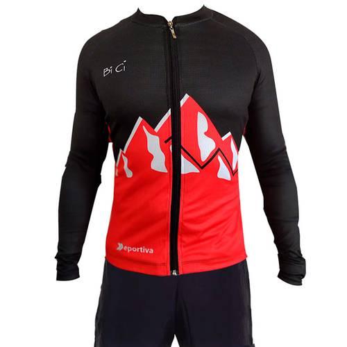 Camiseta Ciclismo Negro Y Rojo