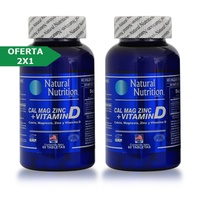 Natural Nutrition Calcio Magnesio Zinc + Vitamina D 2x1 60 Tabletas