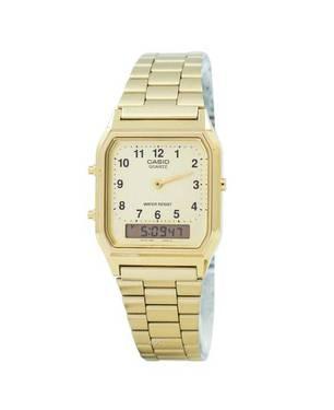 Reloj Análogo Blanco-Dorado A-9B - Casio