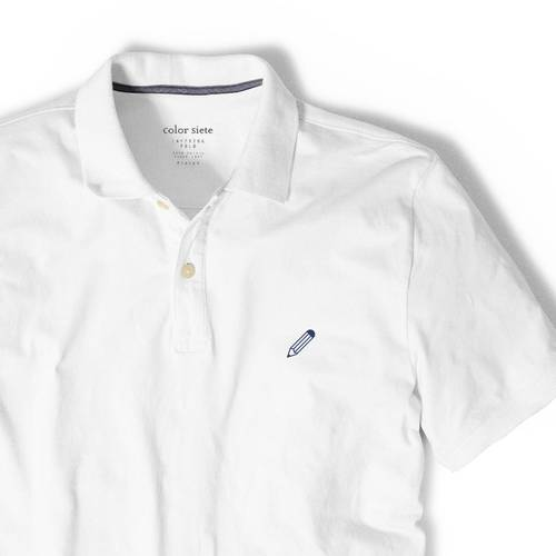 Polo Color Siete Para Hombre Blanco - Lápiz