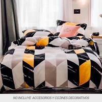 Duvet Digital Franel + Fundas Textura Naranja
