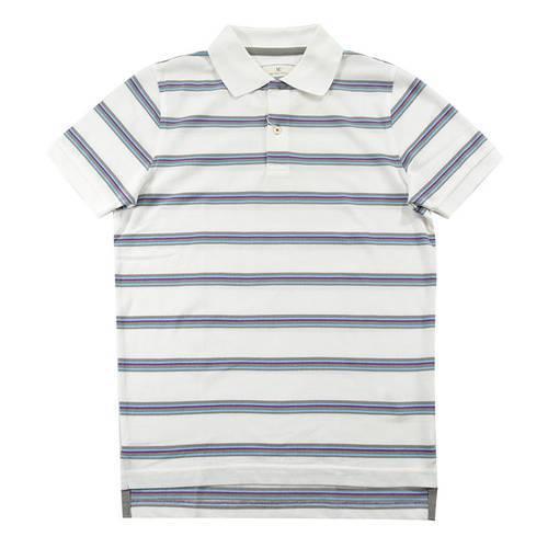 Camiseta Pol Rayas Pique Blanco
