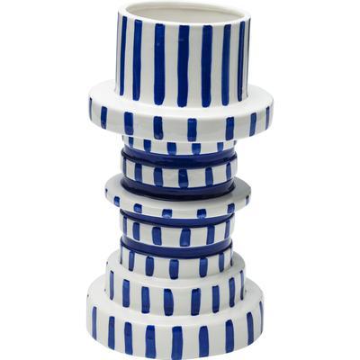 Vasija Gear azul blanco 30cm