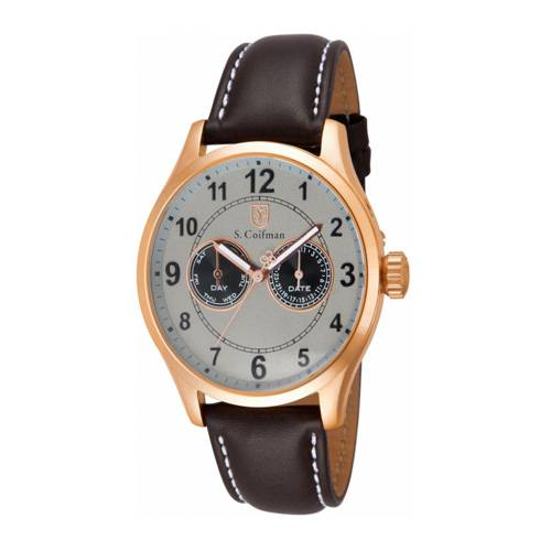 Reloj análogo blanco-marrón 0318
