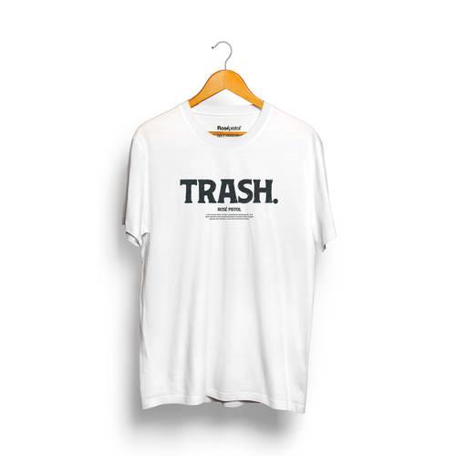 Camiseta Trash Rosé Pistol Unisex - Blanco