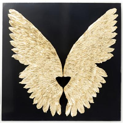 Decoración pared Wings oro negro 120x120cm