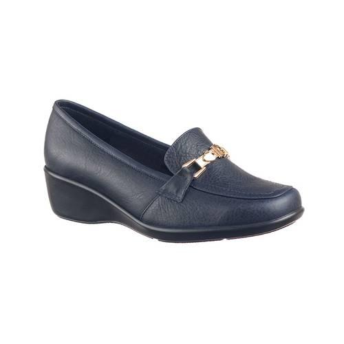 Zapato Confort Para Mujer En Cuero Azul